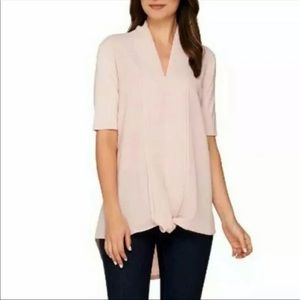 H BY HALSTON TOP WITH CHIFFON DRAPE FRONT